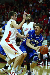13 January 2012:  Grant Gibbs looks past Jon Ekey to find a team mate during an NCAA Missouri Valley Conference mens basketball game where the Creighton Bluejays topped the Illinois State Redbirds 87-78 in Redbird Arena, Normal IL