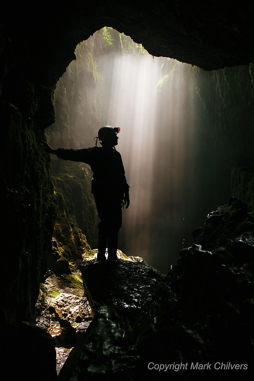 UK. Yorkshire. Journalist Andrew Spooner joins caving guide Dave Allen of the Yorkshire Dales Guides on a caving trip.
