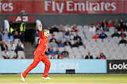 Lancashires Matthew Parkinson with his third wicket during the Vitality T20 Blast North Group match between Lancashire Lightning and Birmingham Bears at the Emirates, Old Trafford, Manchester, United Kingdom on 10 August 2018.
