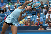 Maria Sharapova (RUS) serves to Ashleigh Barty (AUS) during the Western and Southern Open tennis tournament at Lindner Family Tennis Center, Wednesday, Aug 14, 2019, in Mason, OH. (Jason Whitman/Image of Sport)
