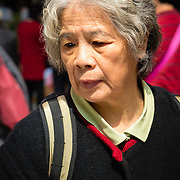 Lady shopping at a street market in Hong Kong