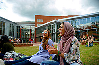Students enjoy the Stafford Commons space at the Talley Student Union. Photo by Marc Hall