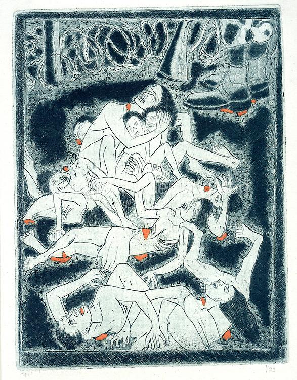 Richard Gabriel - Massacre<br /> Etching<br /> Size - 13&quot; x 8&quot;