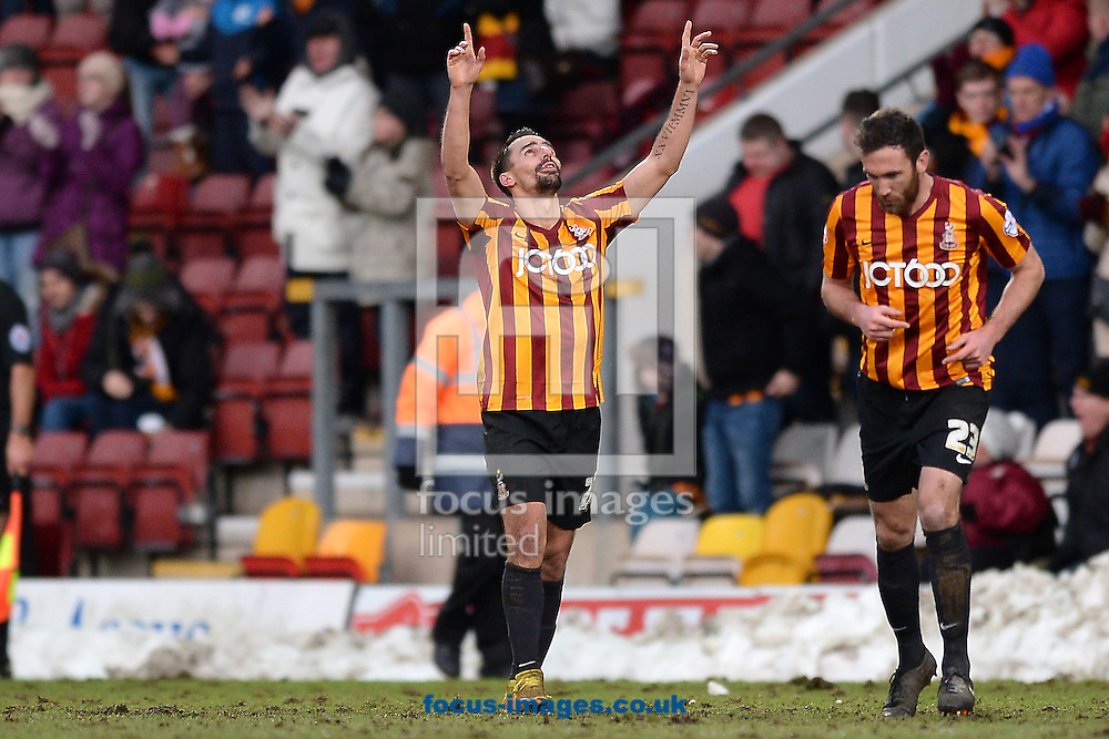 Filipe Morais of Bradford City (left) celebrates scoring his sides first goal to make the scoreline 1-1 during the Sky Bet League 1 match between Bradford City and Colchester United at the Coral Windows Stadium, Bradford<br /> Picture by Richard Blaxall/Focus Images Ltd +44 7853 364624<br /> 31/01/2015