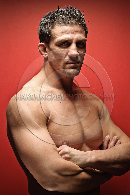 "LONDON, ENGLAND, SEPTEMBER 7, 2010: Celebrity and mixed martial arts athlete Alex Reid poses for a portrait during a press launch for ""EA Games MMA"" videogame inside London Shootfighters Academy in London, England on September 7, 2010"