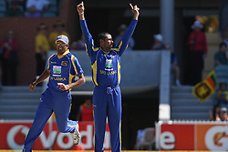 © Licensed to London News Pictures. 08/03/2012. Adelaide Oval, Australia. Tillakaratne Dilshan celebrates the wicket of Shane Watson during the One Day International cricket match final between Australia Vs Sri Lanka. Photo credit : Asanka Brendon Ratnayake/LNP