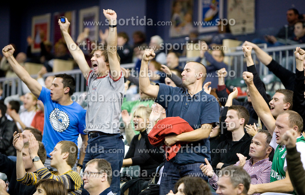 Fans of Olimpija at Euroleague basketball match in 5th Round of Group C between KK Union Olimpija and Virtus Lottomatica Roma, on November 25, 2009, in Arena Tivoli, Ljubljana, Slovenia. Union Olimpija defeated Lottomatica 87-70. (Photo by Vid Ponikvar / Sportida)