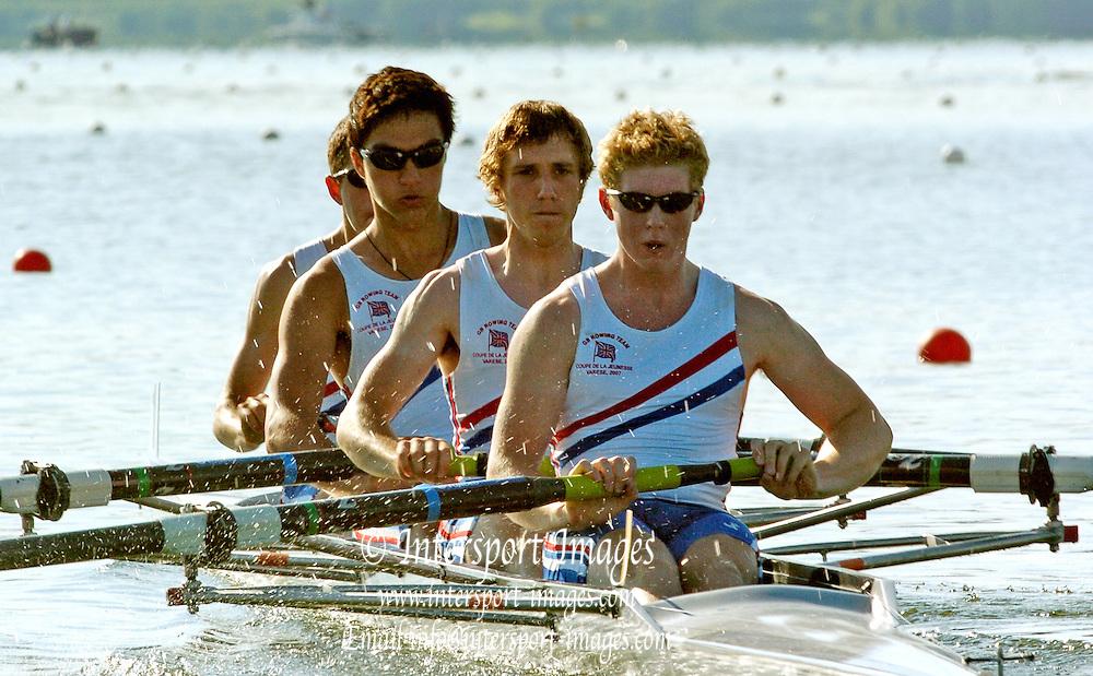 VARESE, ITALY.  2007 Coupe De La Jeunesse, Lake Varese,  04/08/2007 GB JM4-, Nick Cywinski, Ben Bathurst, William Fletcher, Jason Phillips, Bronze Medal, Both Days. [Mandatory credit:   Intersport Images].