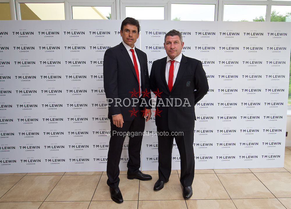 CARDIFF, WALES - Wednesday, June 1, 2016: Wales' manager Chris Coleman and assistant manager Osian Roberts wearing T.M. Lewin suits before a charity send-off gala dinner at the Vale Resort Hotel ahead of the UEFA Euro 2016. (Pic by David Rawcliffe/Propaganda)