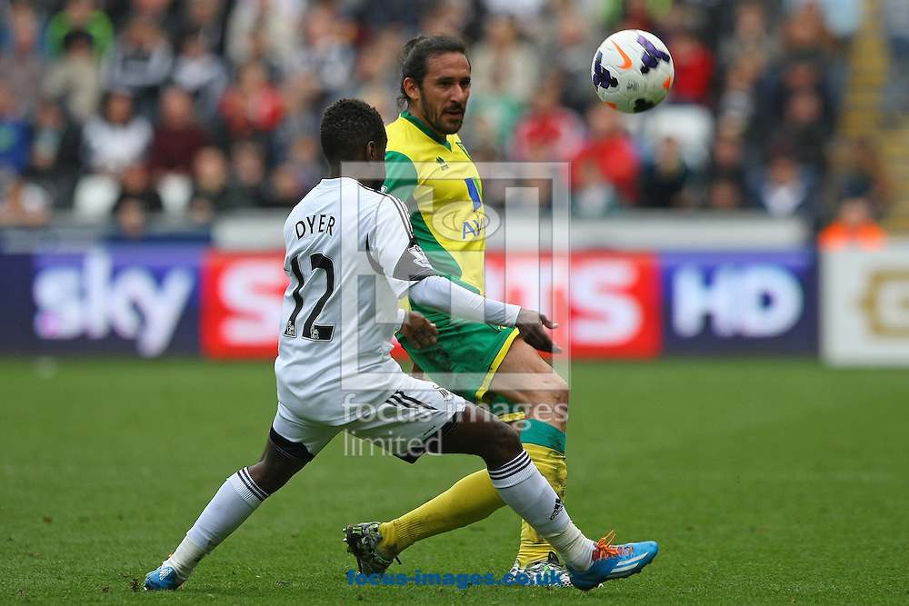 Angel Rangel of Swansea and Jonas Gutierrez of Norwich in action during the Barclays Premier League match at the Liberty Stadium, Swansea<br /> Picture by Paul Chesterton/Focus Images Ltd +44 7904 640267<br /> 29/03/2014