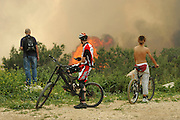 Israel, Haifa Carmel Mountain Forest, Spectators watching the fire