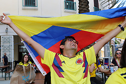 June 19, 2018 - Miami, FL, USA - Marcoi Martin reacts with other fans watching Colombia take on Japan in the first round of the World Cup at Fritz & Franz Bierhaus on Tuesday, June 19, 2018 in Coral Gables, Fla. Japan won 2-1. (Credit Image: © Roberto Koltun/TNS via ZUMA Wire)