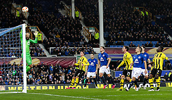 Everton's Tim Howard pushes a shot over the bar - Photo mandatory by-line: Matt McNulty/JMP - Mobile: 07966 386802 - 26/02/2015 - SPORT - Football - Liverpool - Goodison Park - Everton v Young Boys - UEFA EUROPA LEAGUE ROUND OF 32 SECOND LEG