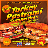 Subway counter top ad for Turkey Pastrami Sandwiches.