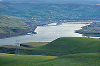 View of The Dalles and Columbia River from the Columbia Hills, Columbia River Gorge National Scenic Area, Washington