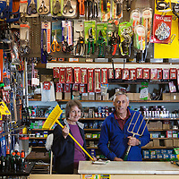 April/May 2013 Hebden Bridge - Shopkeepers in the Yorkshire Pennine Town of Hebden Bridge a year after floods devastated the town centre.