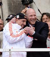 FUSSBALL TRIPELPARTY  SAISON  2012/2013  02.06.2013 Champions Party des FC Bayern Muenchen nach dem Gewinn des DFB Pokal und Triple.  Franck Ribery (li) und Matthias Sammer (re)