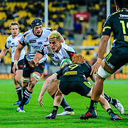 Action during the Super Rugby union game between Hurricanes and Sunwolves, played at Westpac Stadium, Wellington, New Zealand on 27 April 2018.   Hurricanes won 43-15.