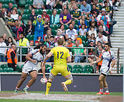 Twickenham. UK. left, Zack TEST touches down, for the USA, in the second half at the 2015. Marriott London Sevens. Cup Final USA vs Australia at the RFU Twickenham Stadium. Surrey. 17.05.2015. [Mandatory Credit: Peter Spurrier/Intersport Images].