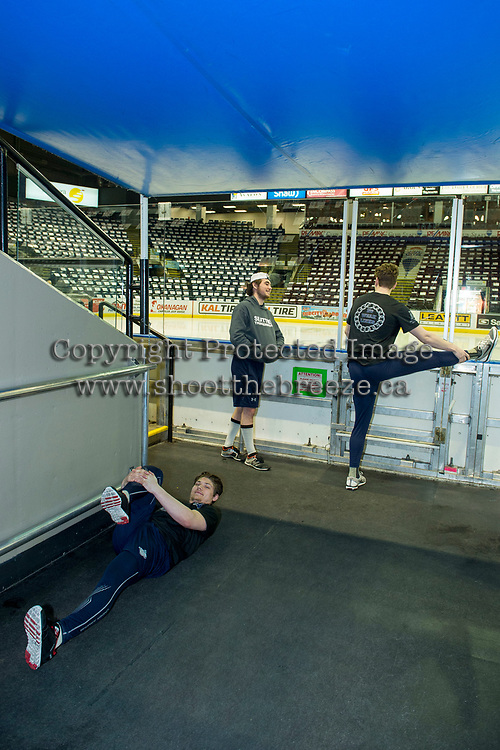 KELOWNA, CANADA - APRIL 25: Seattle Thunderbirds' warm up off ice against the Kelowna Rockets on April 25, 2017 at Prospera Place in Kelowna, British Columbia, Canada.  (Photo by Marissa Baecker/Shoot the Breeze)  *** Local Caption ***