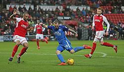 Jack Marriott of Peterborough United is closed down by Nathan Pond of Fleetwood Town - Mandatory by-line: Joe Dent/JMP - 17/12/2017 - FOOTBALL - Highbury Stadium - Fleetwood, England - Fleetwood Town v Peterborough United - Sky Bet League One