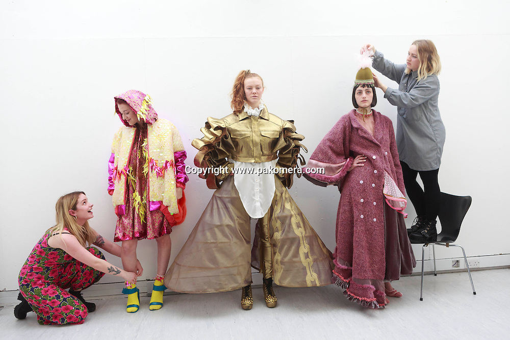 18th Mar. Edinburgh. UK. University of Edinburgh fashion student show their work on 18th March in the Edinburgh College of art Fashion students Kikie McKenzie, Alana Hilton, Olivia Bright, Julie Mills and Heather Dooley. The final show will be from 23rd to 25th of April. Pako Mera