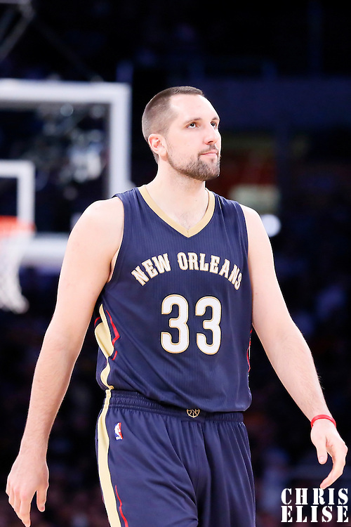 07 December 2014: New Orleans Pelicans forward Ryan Anderson (33) is seen during the New Orleans Pelicans 104-87 victory over the Los Angeles Lakers, at the Staples Center, Los Angeles, California, USA.