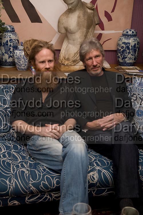 HARRISON WATERS AND HIS FATHER ROGER WATERS,  'Cries from the Heart' presented by Human Rights Watch at the Theatre Royal Haymarket. London. Party afterwards at the Haymarket Hotel. June 8, 2008 *** Local Caption *** -DO NOT ARCHIVE-© Copyright Photograph by Dafydd Jones. 248 Clapham Rd. London SW9 0PZ. Tel 0207 820 0771. www.dafjones.com.