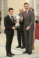 King Felipe VI of Spain awards Javier Gomez during the 2013 Sports National Awards ceremony at El Pardo palace in Madrid, Spain. December 03, 2014. (ALTERPHOTOS/Victor Blanco)