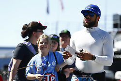 September 14, 2018 - Las Vegas, Nevada, United States of America - Darrell Wallace, Jr (43) hangs out in the garage during practice for the South Point 400 at Las Vegas Motor Speedway in Las Vegas, Nevada. (Credit Image: © Chris Owens Asp Inc/ASP via ZUMA Wire)