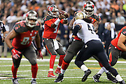 NEW ORLEANS, LA - SEPTEMBER 20:  Jameis Winston #3 of the Tampa Bay Buccaneers drops back to pass during a game against the New Orleans Saints at Mercedes-Benz Superdome on September 20, 2015 in New Orleans Louisiana.  The Buccaneers defeated the Saints 26-19.  (Photo by Wesley Hitt/Getty Images) *** Local Caption *** Jameis Winston