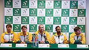 (L-R) Jean Andersen & Rik de Voest & John Laffnie de Jager & Raven Klaasen & Ruan Roelofse all from South Africa while press conference three days before the BNP Paribas Davis Cup 2013 between Poland and South Africa at MOSiR Hall in Zielona Gora on April 02, 2013...Poland, Zielona Gora, April 02, 2013..Picture also available in RAW (NEF) or TIFF format on special request...For editorial use only. Any commercial or promotional use requires permission...Photo by © Adam Nurkiewicz / Mediasport