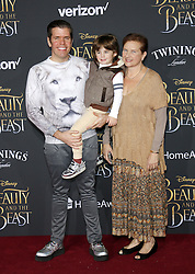 Perez Hilton, Teresita Lavandeira and Mario Armando Lavandeira III at the Los Angeles premiere of 'Beauty And The Beast' held at the El Capitan Theatre in Hollywood, USA on March 2, 2017.