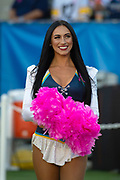 Chargers Girls cheerleaders wear pink for cancer awareness before an NFL football game between the Los Angeles Chargers and the Pittsburgh Steelers. Sunday, Oct. 13, 2019, in Carson, Calif. (Ed Ruvalcaba/Image of Sport)