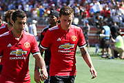 Manchester United Midfielder Henrikh Mkhitaryan and Manchester United Defender Victor Lindelof leave the pitch during the AON Tour 2017 match between Real Madrid and Manchester United at the Levi's Stadium, Santa Clara, USA on 23 July 2017.