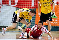 Sebastijan Sovic  of Gorenje vs Marko Ristic of Slovan at handball match of MIK 1st Men league between RD Slovan and RK Gorenje Velenje, on May 16, 2009, in Arena Kodeljevo, Ljubljana, Slovenia. Gorenje won 27:26. (Photo by Vid Ponikvar / Sportida)