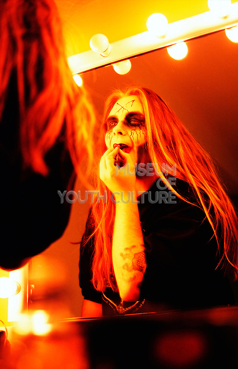 """""""Cradle Of Filth"""" putting on their make-up before a show, UK 2000's"""
