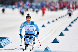 BALTABAYEVA Zhanyl KAZ LW12 competing in the ParaSkiDeFond, Para Nordic Skiing, Sprint at  the PyeongChang2018 Winter Paralympic Games, South Korea.