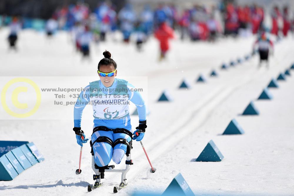 BALTABAYEVA Zhanyl KAZ LW12 competing in the ParaSkiDeFond, Para Nordic Skiing, Sprint at  the PyeongChang2018 Winter Paralympic Games, South Korea.