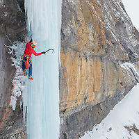 Climbing the not oftened formed Icicle Fairy, 90m M6 WI4+ in Banff, Alberta, Canada, Mixed