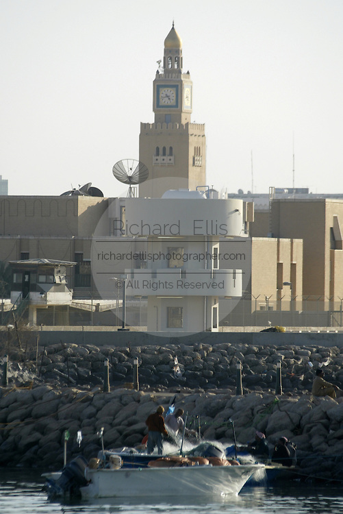 The clock tower of the Al-Sief Palace along the waterfront of the Persian Gulf in Kuwait City.