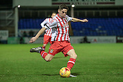 Tom Pett (Stevenage) crosses the ball into the box during the Sky Bet League 2 match between Hartlepool United and Stevenage at Victoria Park, Hartlepool, England on 9 February 2016. Photo by Mark P Doherty.