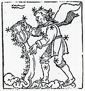 Zodiac sign of Aquarius.  From 'Sphaera mundi', Strasburg, 1539