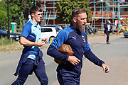 AFC Wimbledon midfielder Scott Wagstaff (7) and AFC Wimbledon defender Ryan Delaney (21) arriving during the EFL Sky Bet League 1 match between AFC Wimbledon and Shrewsbury Town at the Cherry Red Records Stadium, Kingston, England on 14 September 2019.