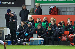 NEWPORT, WALES - Thursday, April 4, 2019: Wales' manager Jayne Ludlow with her staff Hillary Gannon, Dr Chris Elliott, Charlie Mitchell, goalkeeping coach Jon Horton and assistant manager Lauren Smith during an International Friendly match between Wales and Czech Republic at Rodney Parade. Fourth official Cheryl Foster. (Pic by David Rawcliffe/Propaganda)