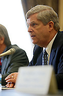 Agriculture Secretary Tom Vilsack gives his opening statements as he testifies before the House Appropriations Agriculture subcommittee on the USDA's fiscal 2014 budget proposal in the Rayburn House Office Building in Washington, DC on Tuesday, April 16, 2013.