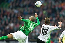 10.12.2011, Weser Stadion, Bremen, GER, 1.FBL, Werder Bremen vs VFL Wolfsburg, im BildNaldo (Bremen #4) Mario Mandzukic (Wolfsburg #18). // during the Match GER, 1.FBL, Werder Bremen vs VFL Wolfsburg, Weser Stadion, Bremen, Germany, on 2011/12/10.EXPA Pictures © 2011, PhotoCredit: EXPA/ nph/ Kokenge..***** ATTENTION - OUT OF GER, CRO *****