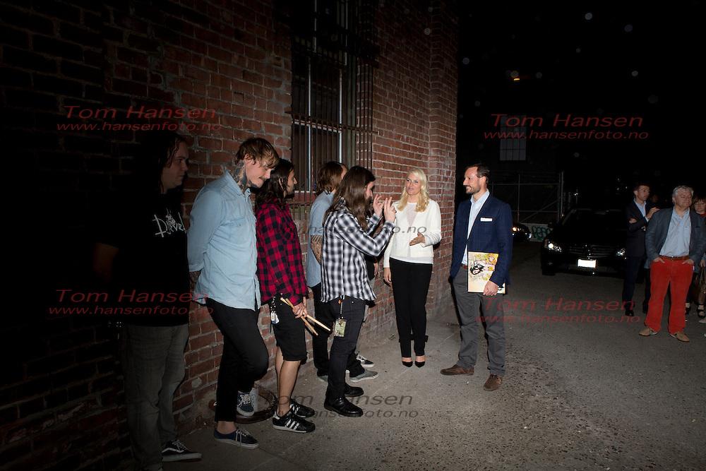 SAN FRANCISCO, 2013-5-08; Crownprince Haakon and Crownprincess Mette-Marit attending concert with norwegian metalband Kvelertak.  FOTO;  TOM HANSEN