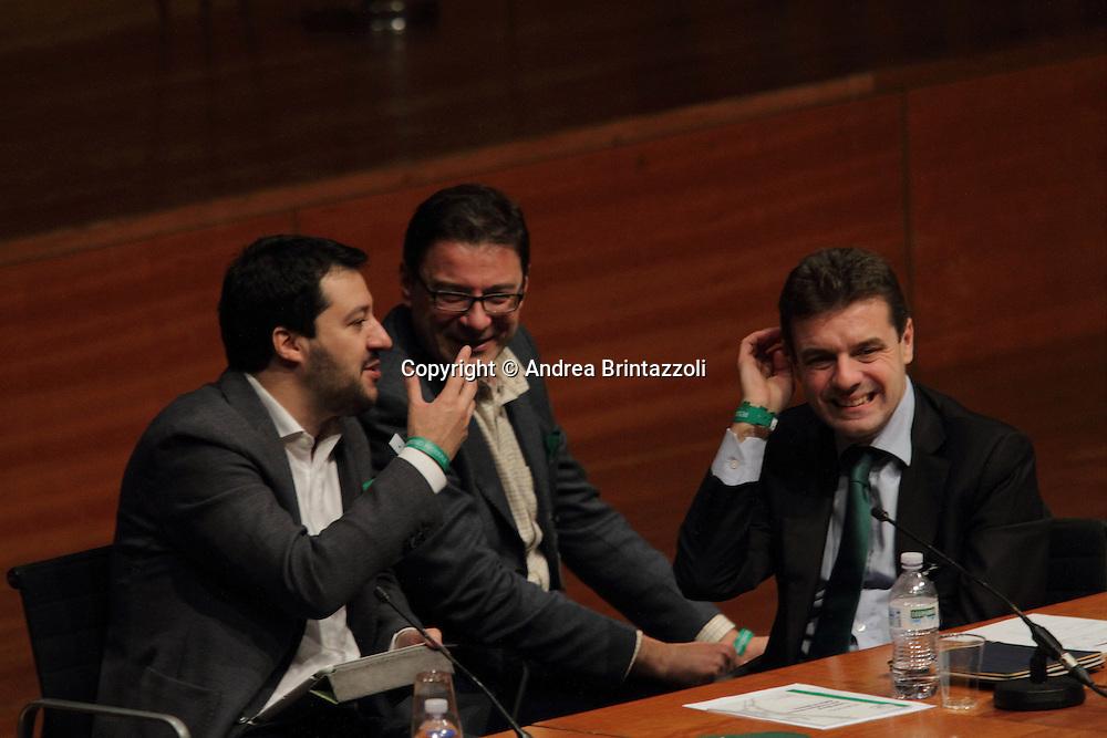 Torino 15 Dicembre 2013. Lingotto Fiere Congresso Federale Lega Nord Padania. <br /> Salvini, Giorgetti, Cota
