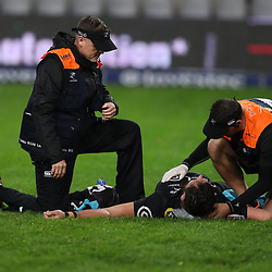 DURBAN, SOUTH AFRICA - JULY 14: Deane Macquet (Physiotherapist) of the Cell C Sharks and DR Alan Kourie of the Cell C Sharks check out Ruan Botha of the Cell C Sharks during the Super Rugby match between Cell C Sharks and Jaguares at Jonsson Kings Park on July 14, 2018 in Durban, South Africa. (Photo by Steve Haag/Gallo Images)